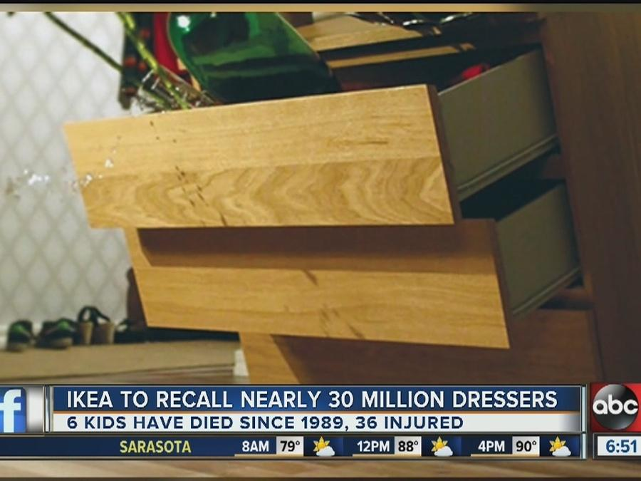 Ikea recalls 29 million dressers and chests linked to six child deaths