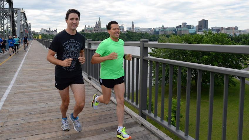 Justin Trudeau goes running with Mexican president