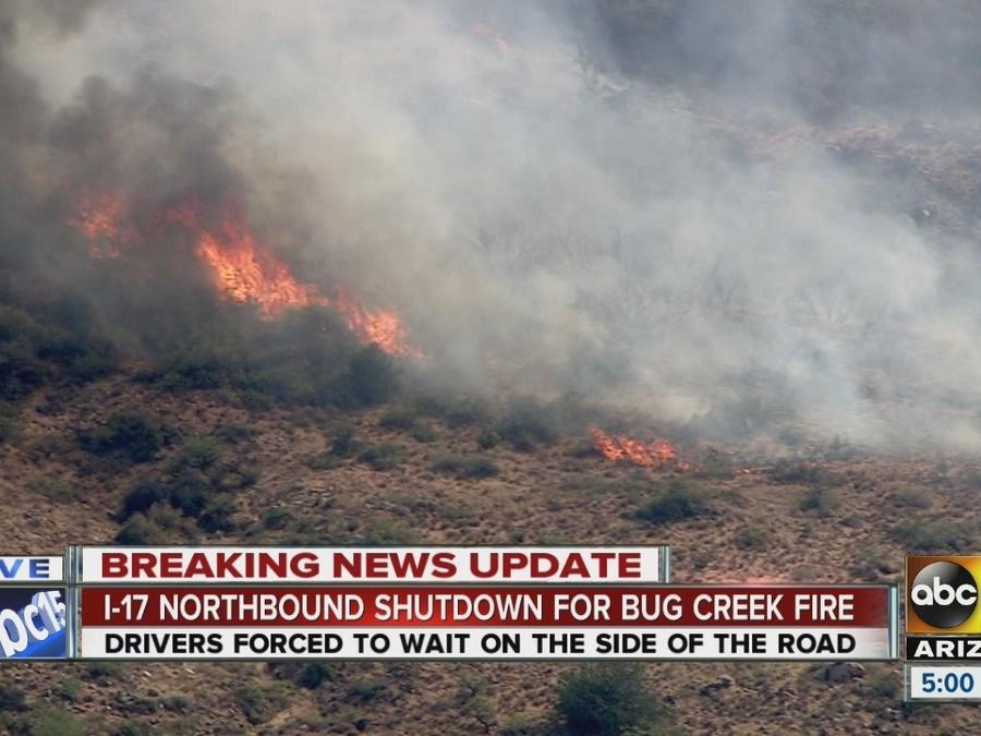 Bug Creek Fire affecting traffic stuck on I-17