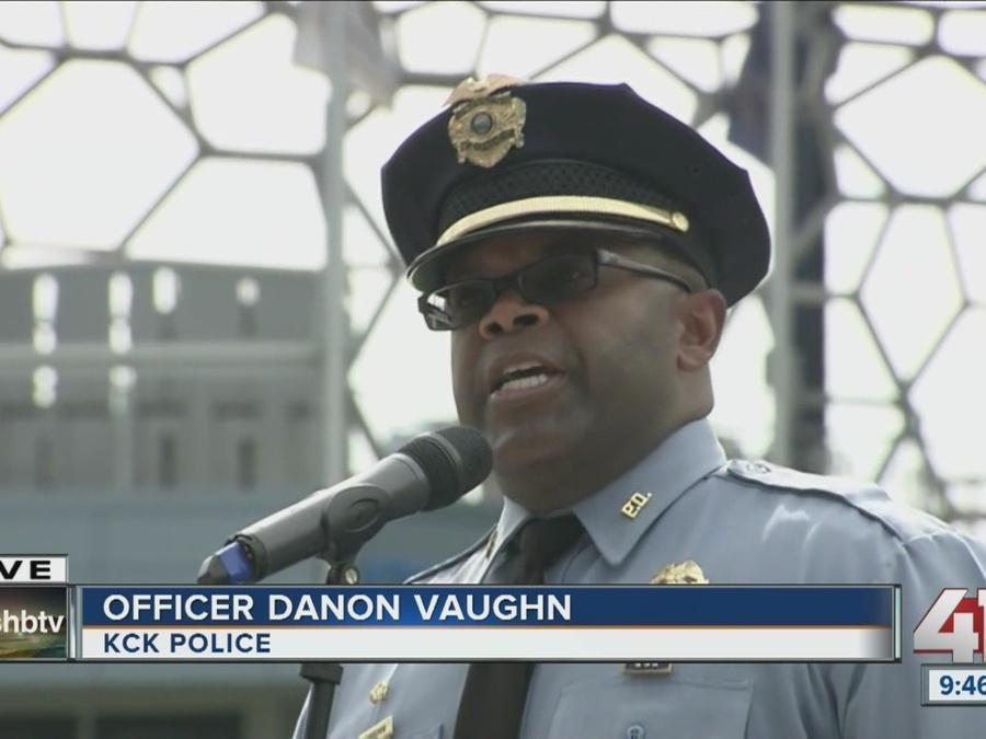 "Danon Vaughn sings ""Amazing Grace"" to honor Dave Melton"