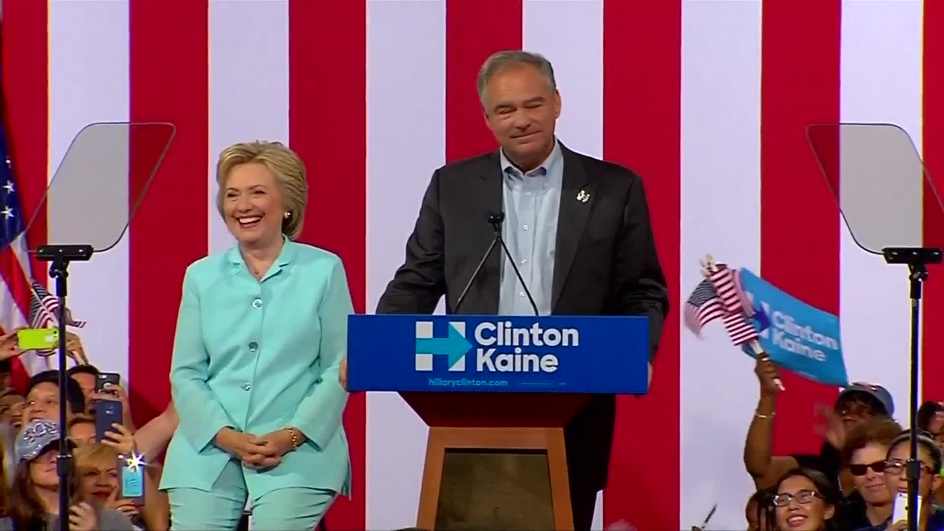 "Kaine tells Clinton we'll be ""soul mates"" in Spanish"