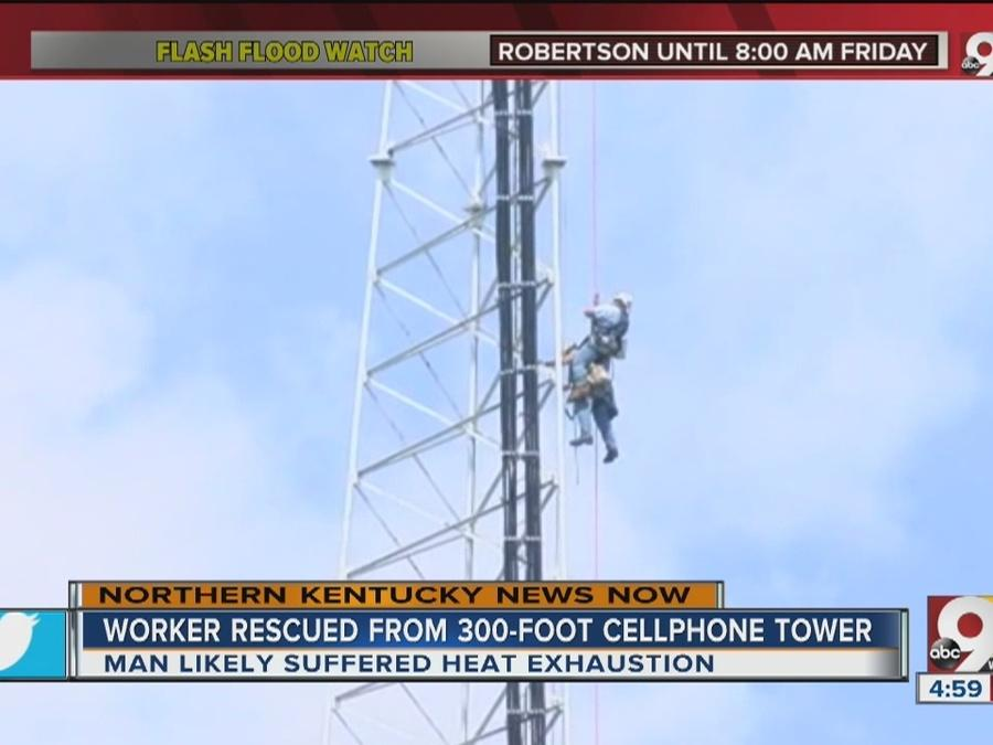 Worker rescued from 300-foot cellphone tower