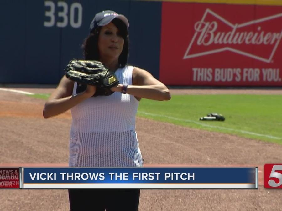 NC5's Vicki Yates Throws The First Pitch