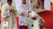 Pope Francis Stumbles and Falls During Mass in Poland