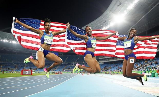 U.S. medals in the sand and makes history on the track
