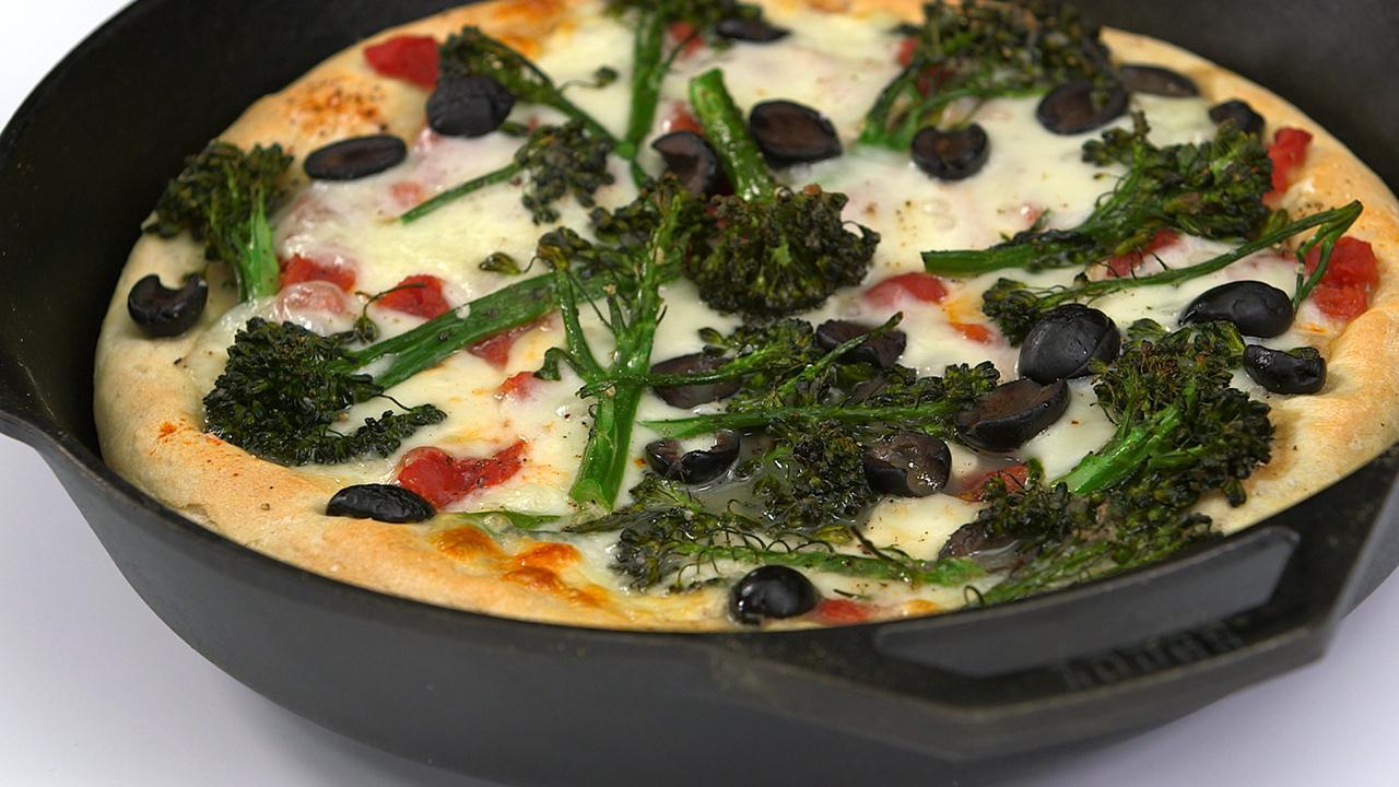 Broccolini and Olive Skillet Pizza Recipe