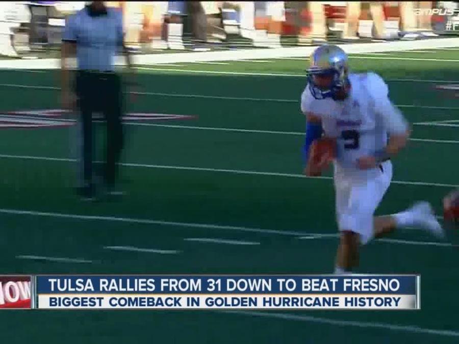 Tulsa rallies from 31 down to beat Fresno State, 48-41 (2 OT)