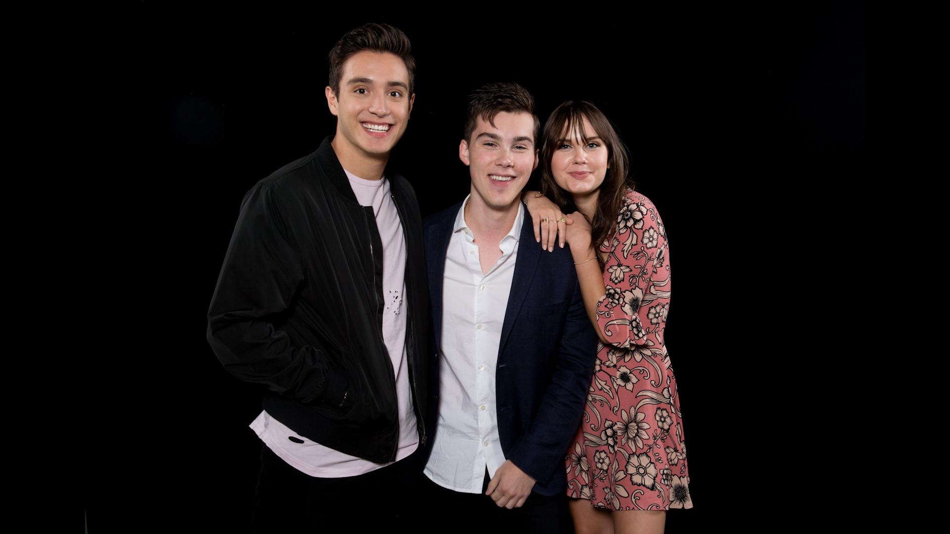 mr student Actors jeremy shada and gabriel conte on the red carpet at the premiere of  verizon go90's 'mr student body president' at tcl chinese 6 theatres on.