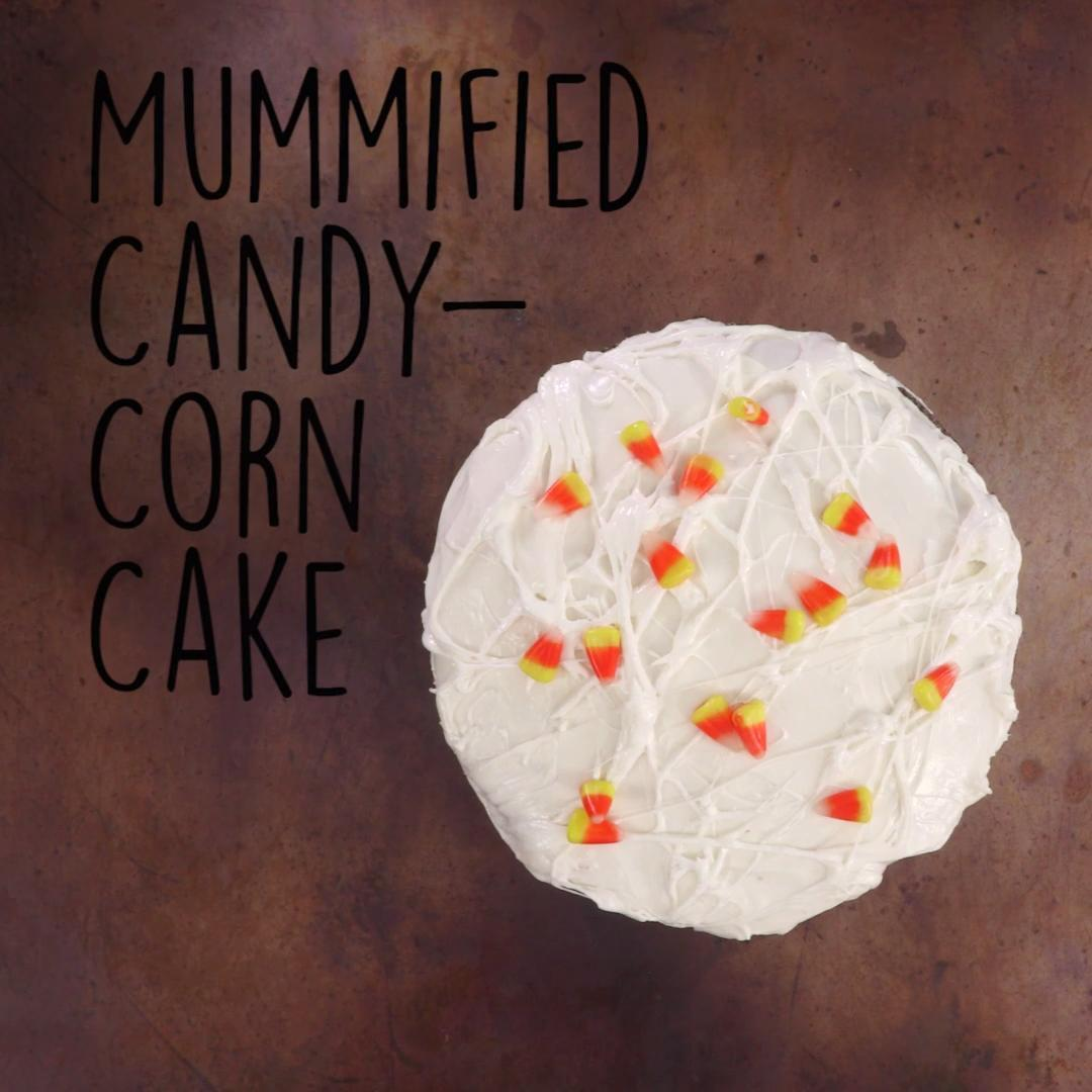 How to Make a Mummified Candy Corn Cake