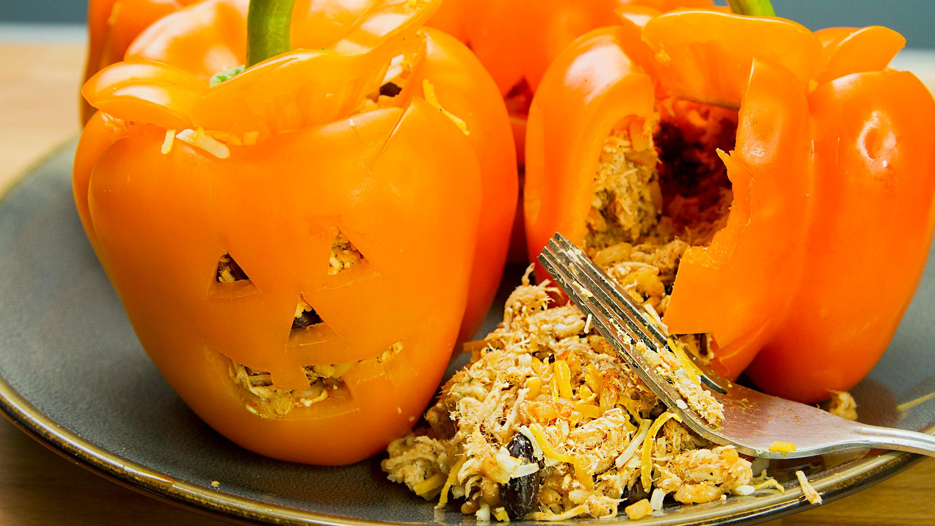 How to Make Stuffed Bell Peppers Jack O' Lantern Style