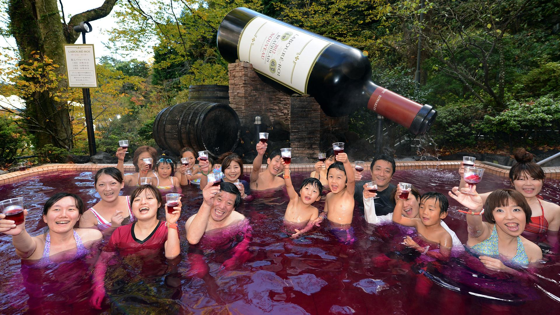 This Japanese Spa Lets You Swim in a Pool of Red Wine