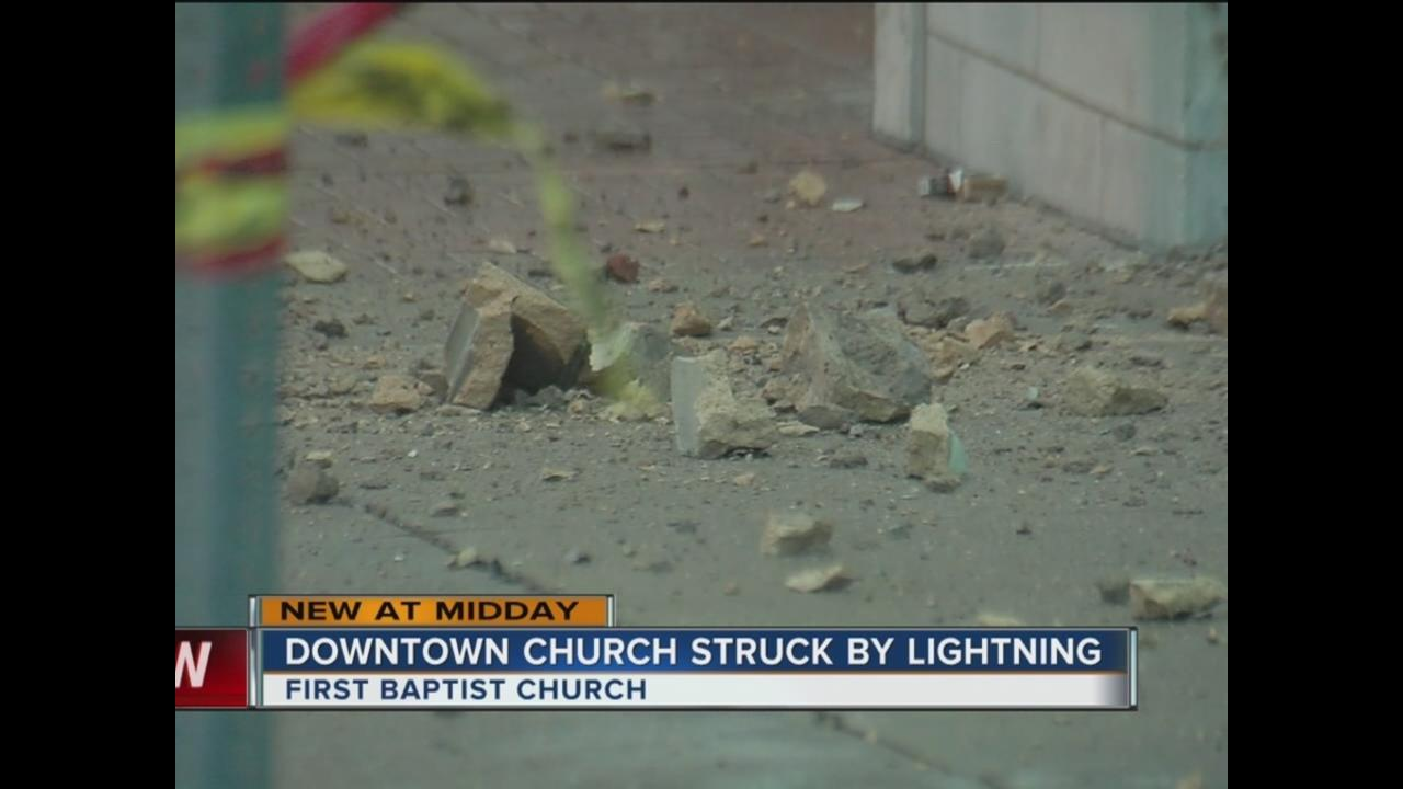 lightning reportedly hits first baptist church in downtown tulsa