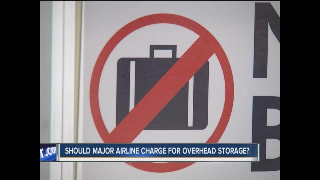 united airlines will charge extra fee for use of overhead bins