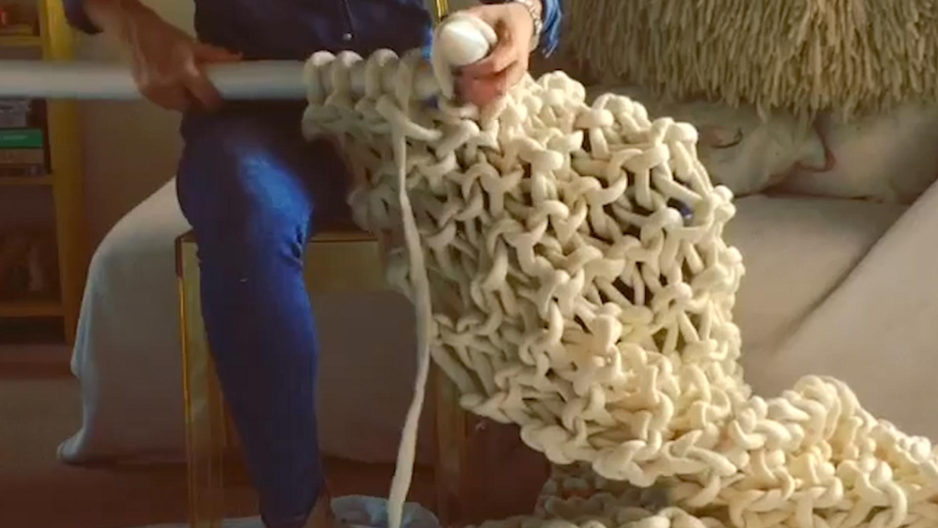 This Woman Is Extreme Knitting Giant Blankets Just In Time For Winter