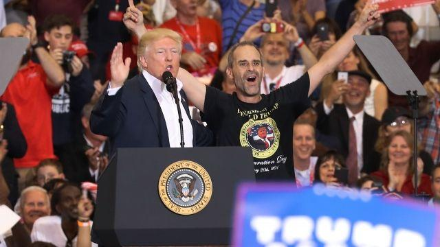 Trump Brings Fan Gene Huber on Stage at Florida Rally