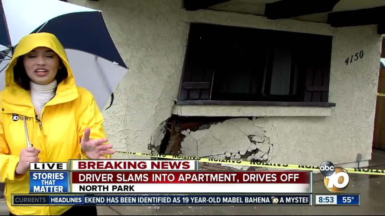 Driver slams into North Park apartment, drives off