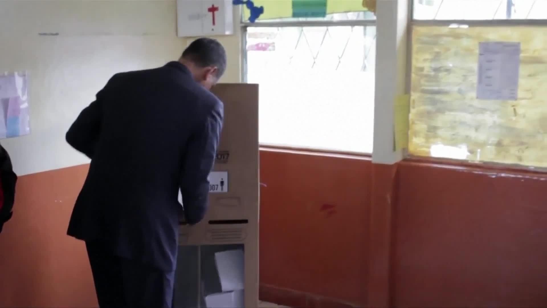 Outgoing President Correa votes in Ecuador's election