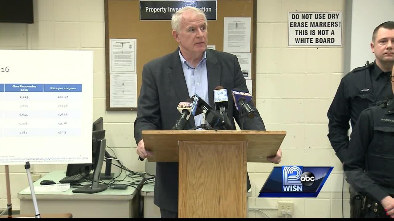 Mayor Barrett holds press conference on illegal guns collected