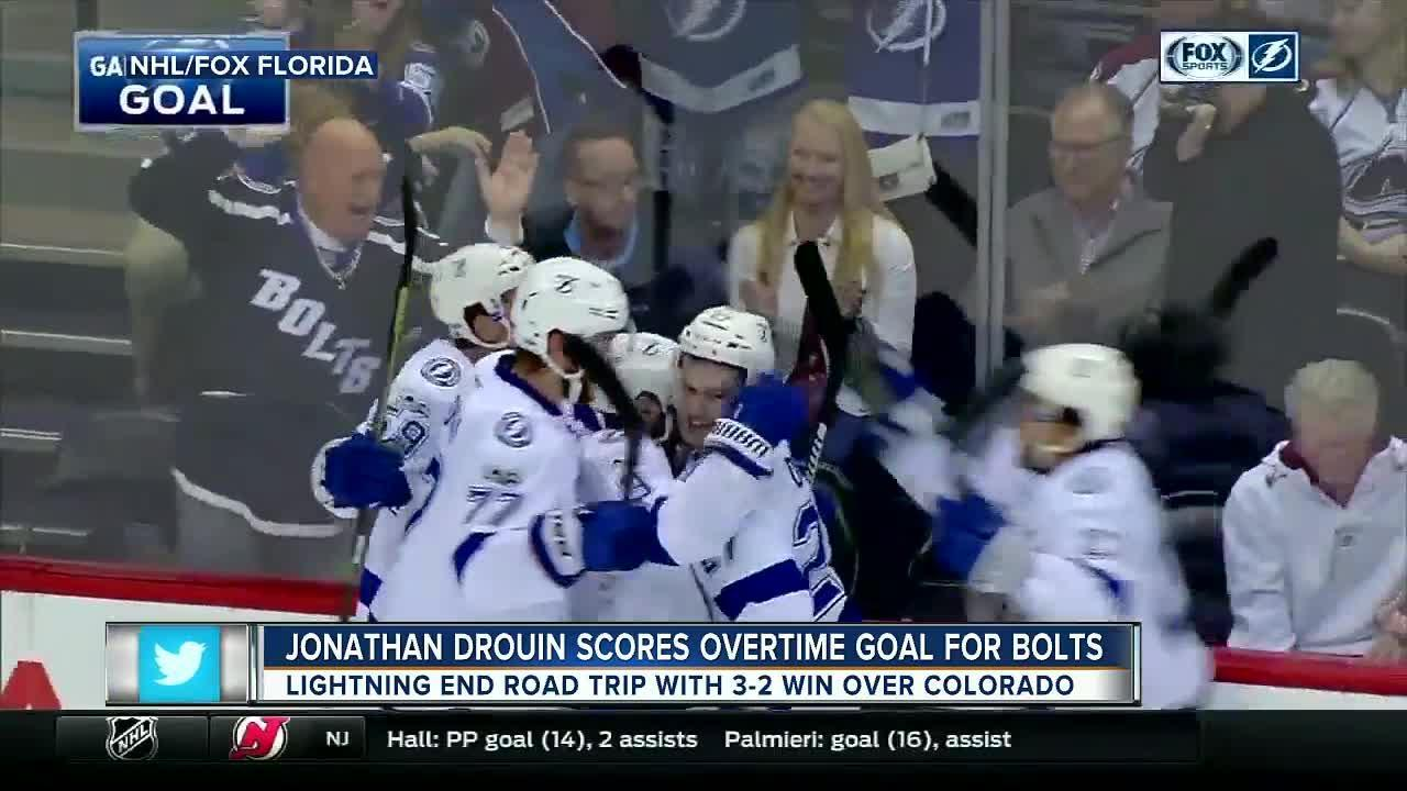 Jonathan Drouin scores nifty goal in OT as the Tampa Bay Lightning beat the Colorado Avalanche 3-2