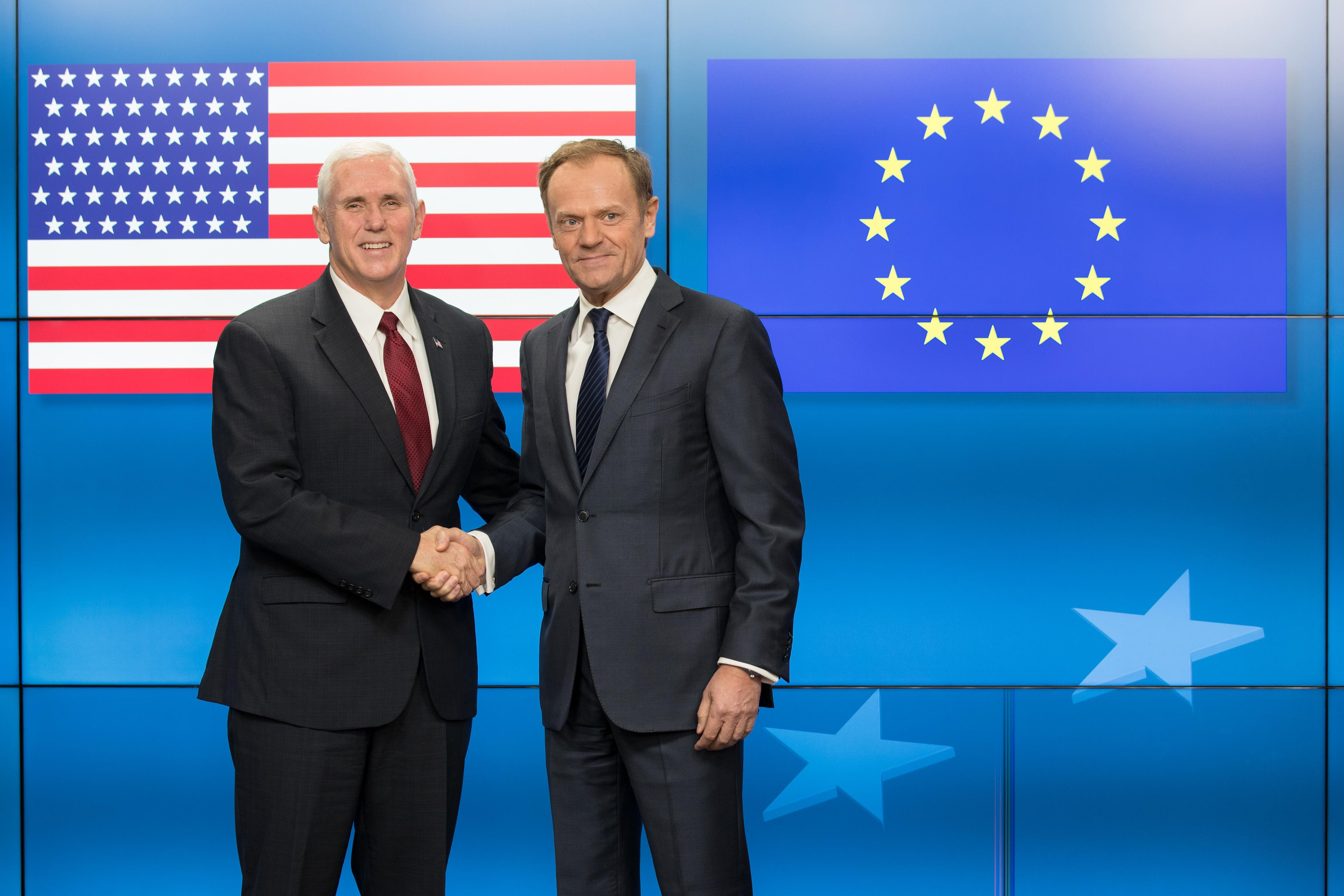 Pence arrives in Brussels for talks with EU officials