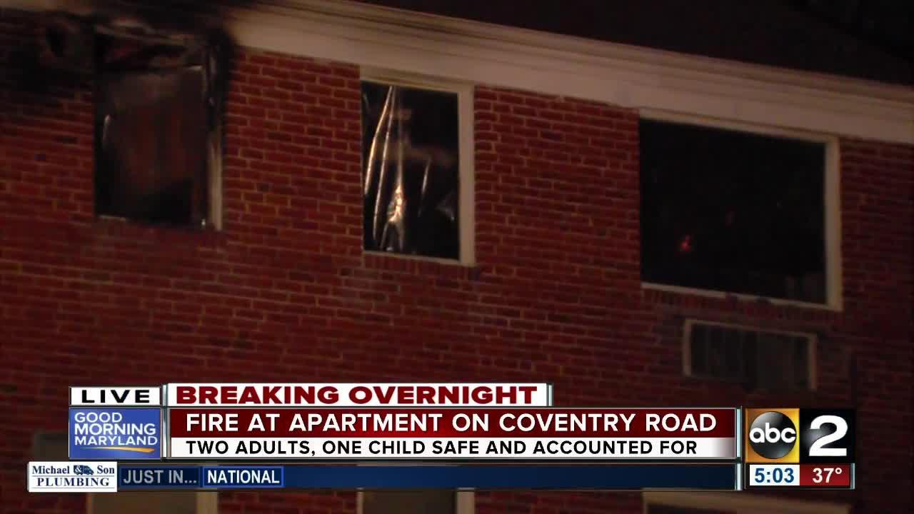 Fire at apartment on Coventry Road in southwest Baltimore