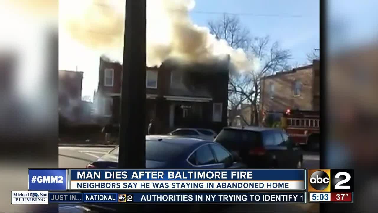 Man dies after fire in northwest Baltimore