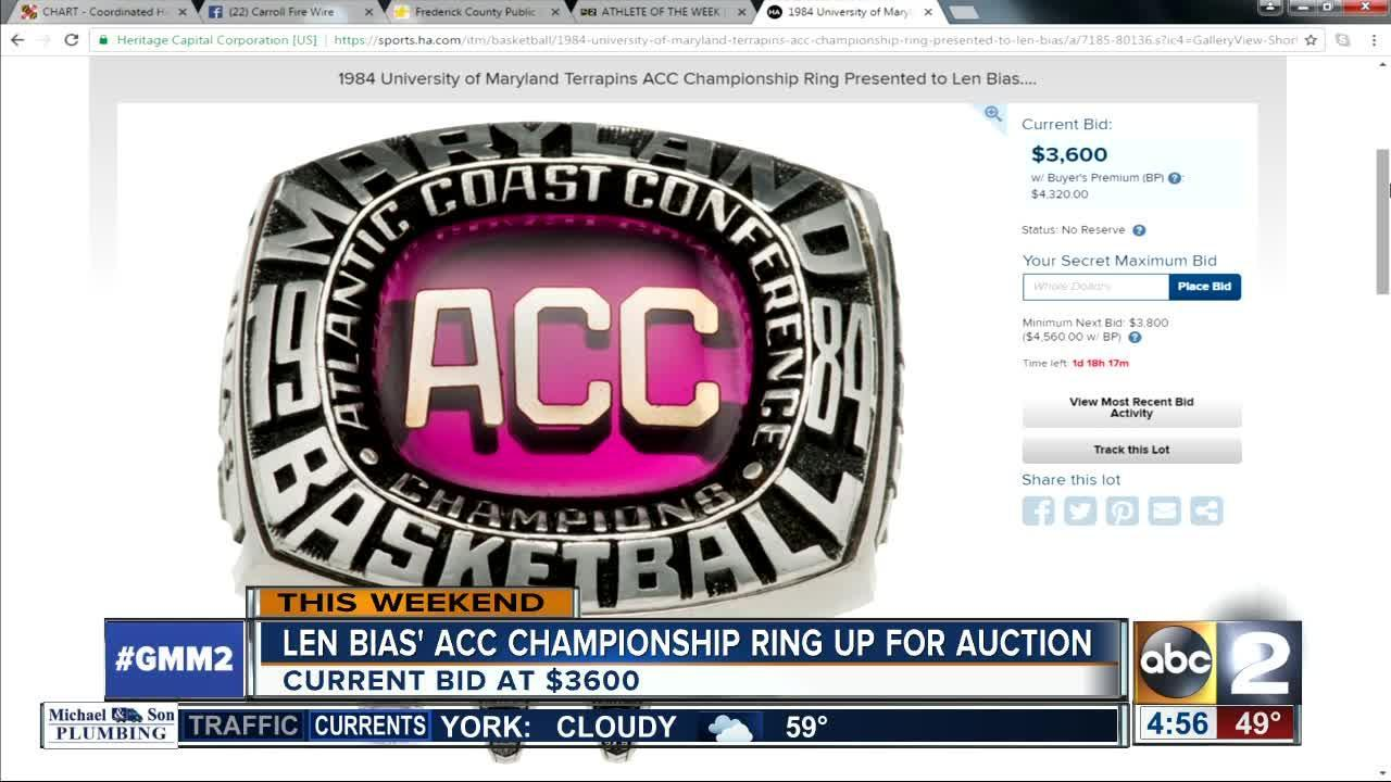Len Bias' ACC championship ring up for auction