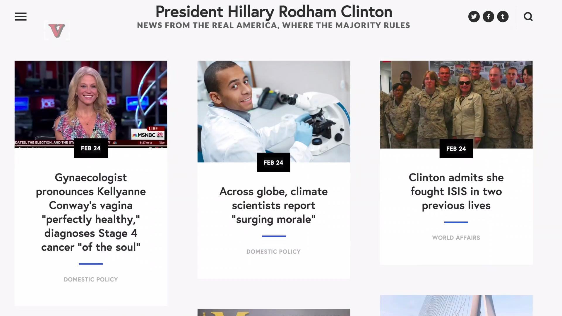 Website Imagines Alternate Universe Where Hillary Clinton is the President