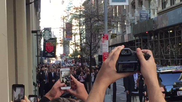 Barack Obama Greeted by Cheering Crowds in New York