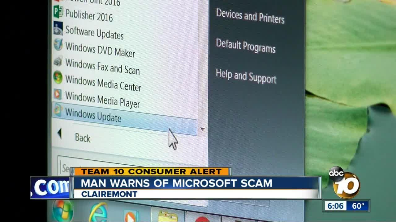 Man warns of Microsoft scam