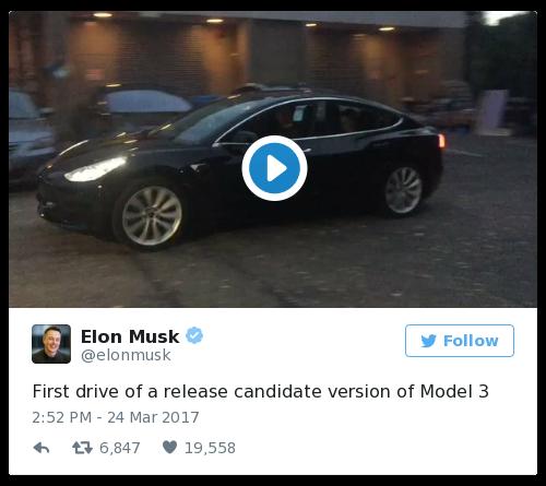 Elon Musk gives peek at on Tesla Model 3