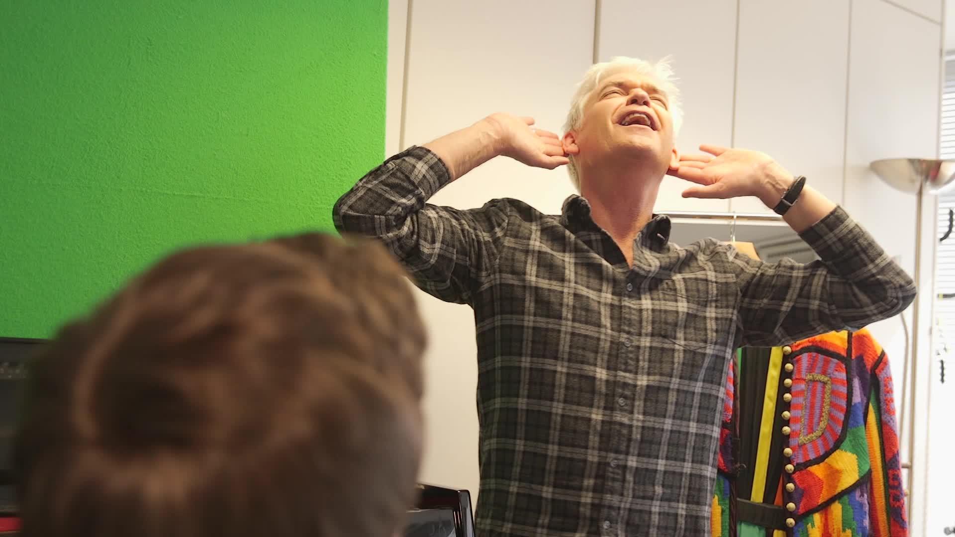 Phillip Schofield rehearses for Joseph And The Amazing Technicolor Dreamcoat.