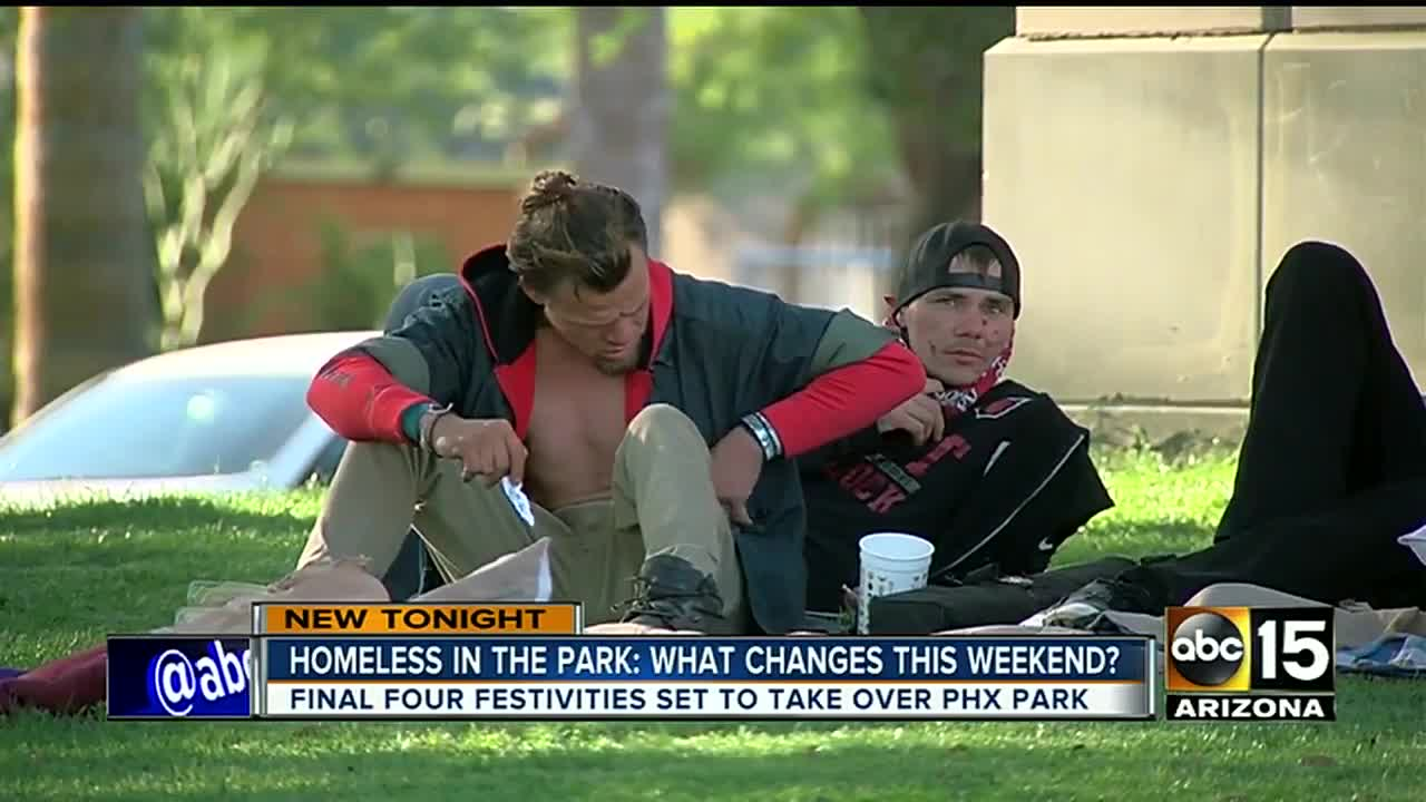 City of Phoenix says it has no plans to move homeless from park for Final Four festivities