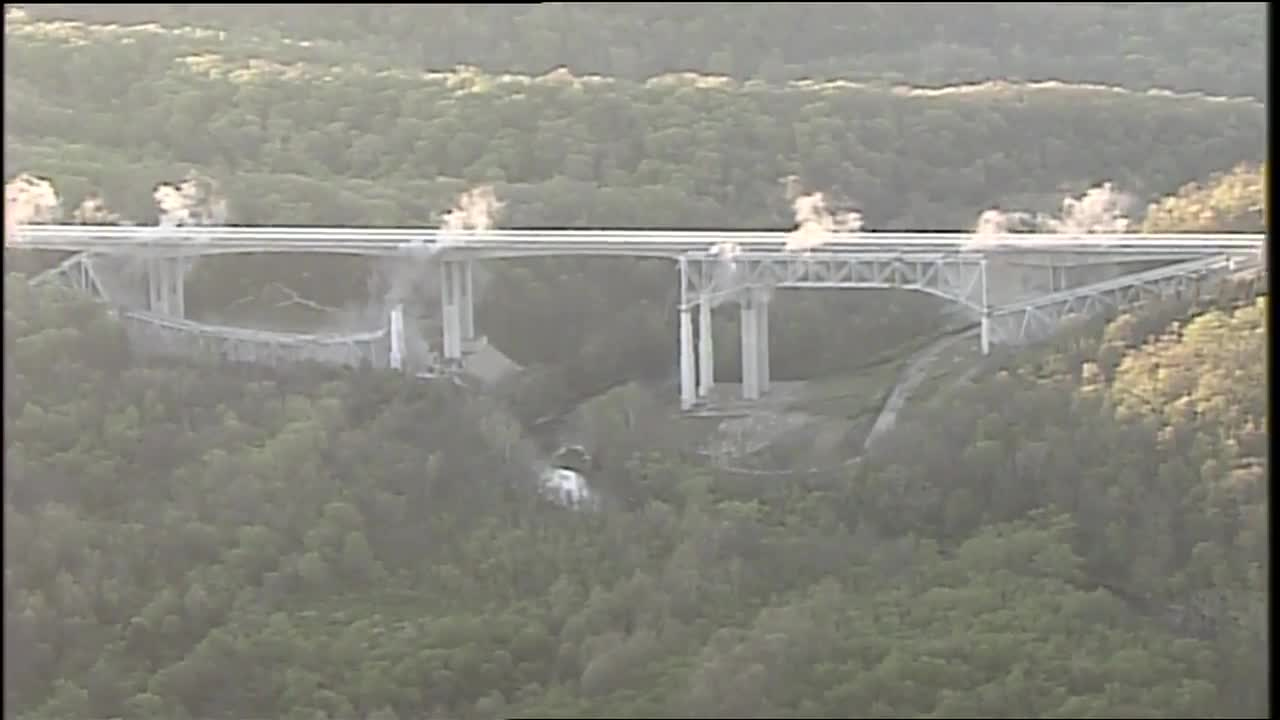 Implosion takes out most of old Jeremiah Morrow Bridge