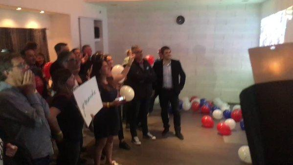 Supporters of Emmanuel Macron Celebrate His Victory in First Round of Voting