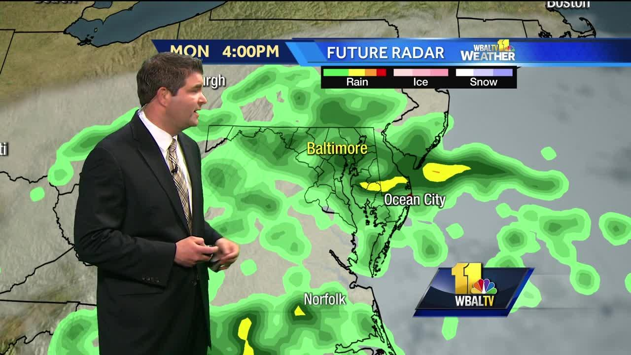 On and off chilly rain Monday
