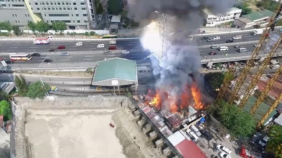 Drone captures pylon collapse caused by fire