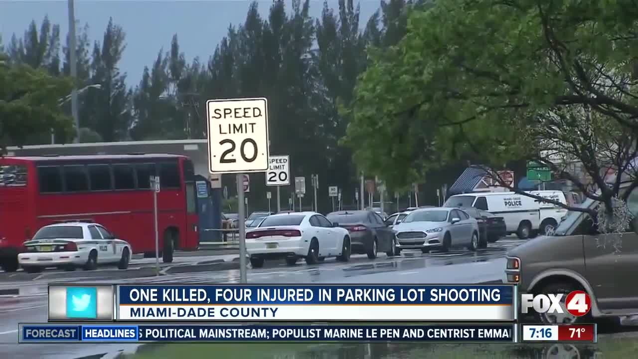 1 killed, 4 injured in parking lot shooting