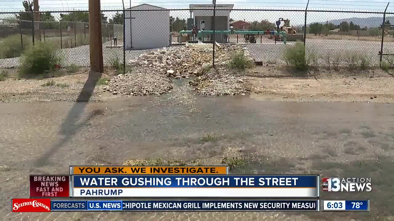 New well coming online causes water in Pahrump street