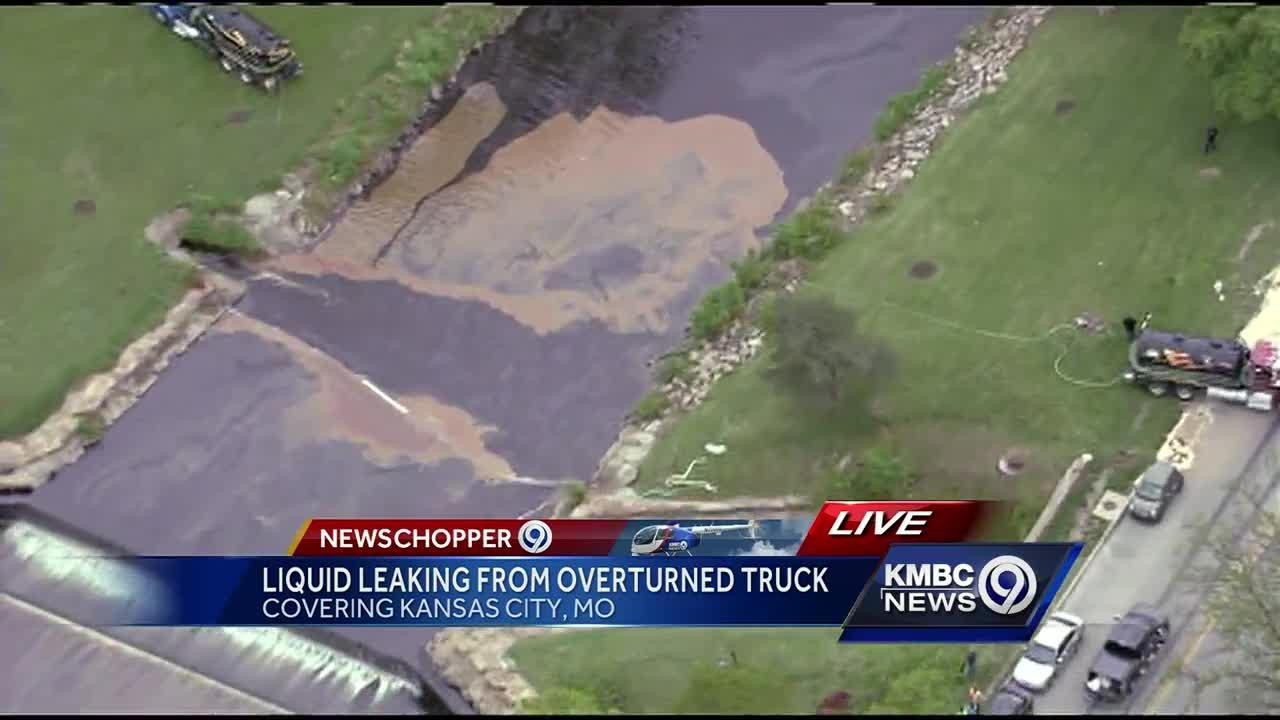 Grease, fuel flow into Brush Creek after truck flips over