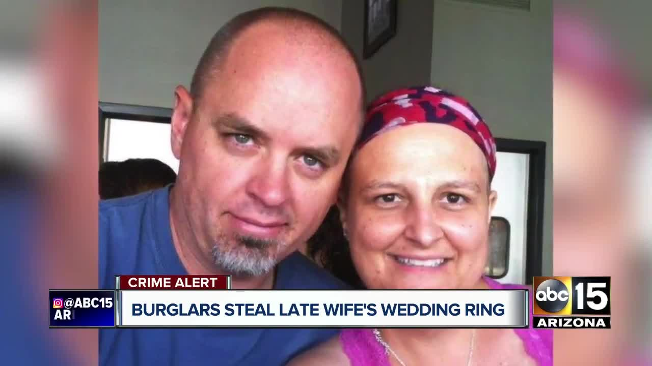 Man offering reward for late wife's stolen wedding rings