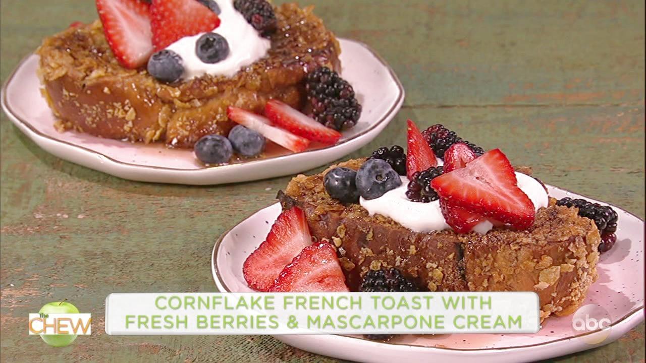 Kareem Abdul-Jabbar and Michael Make Cornflake French Toast With Fresh Berries and Mascarpone Cream