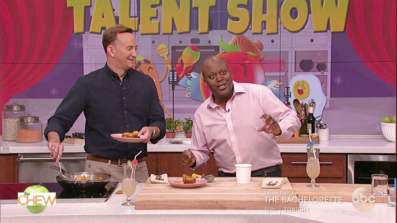 Titus Burgess and Clinton Make Pineapple Foster With Pound Cake