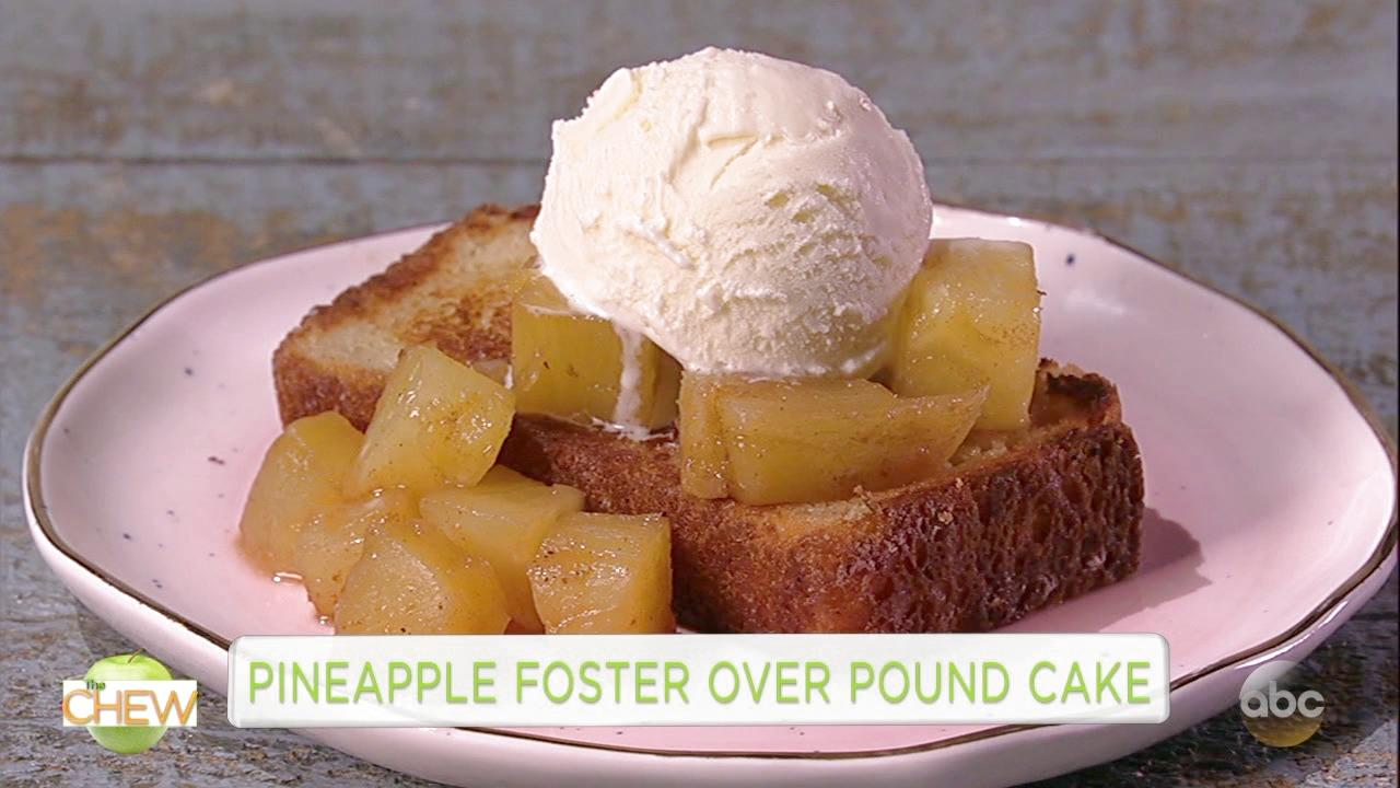 Titus Burgess and Clinton Show How to Make Pineapple Foster With Pound Cake