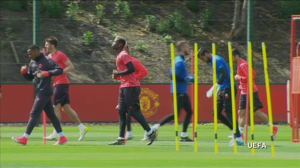 Manchester United prepare for Europa League final