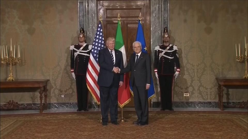 Trump meets Italian president as part of first foreign tour