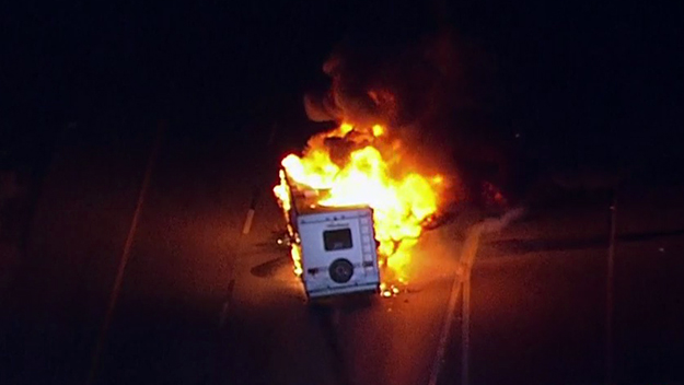 Police Chase With RV Ends With Fire