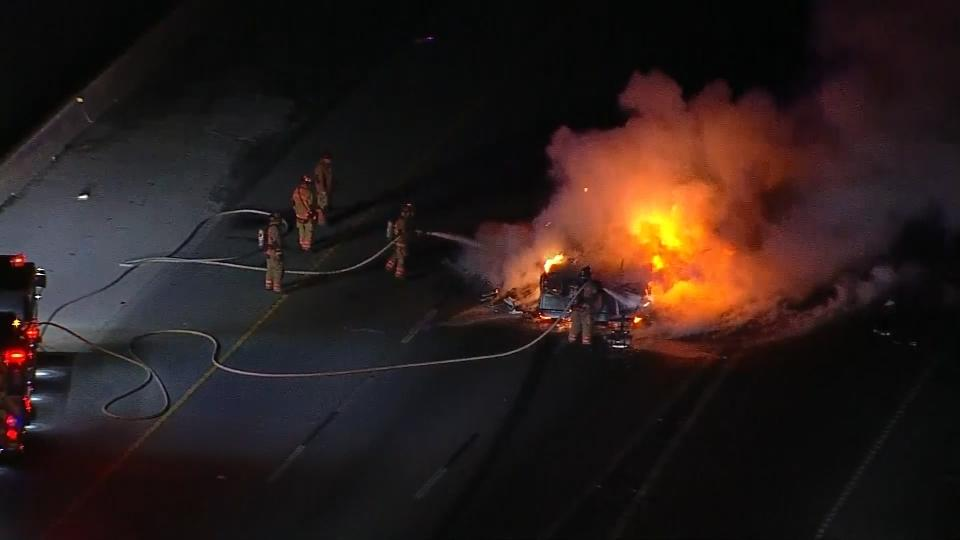 Vehicle up in flames after Texas police chase