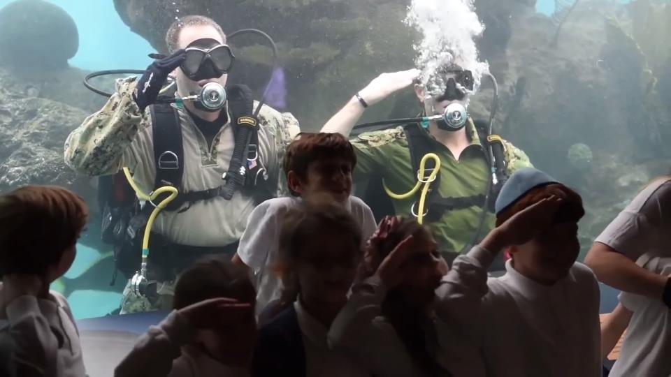 U.S. Navy divers surprise children at New York aquarium