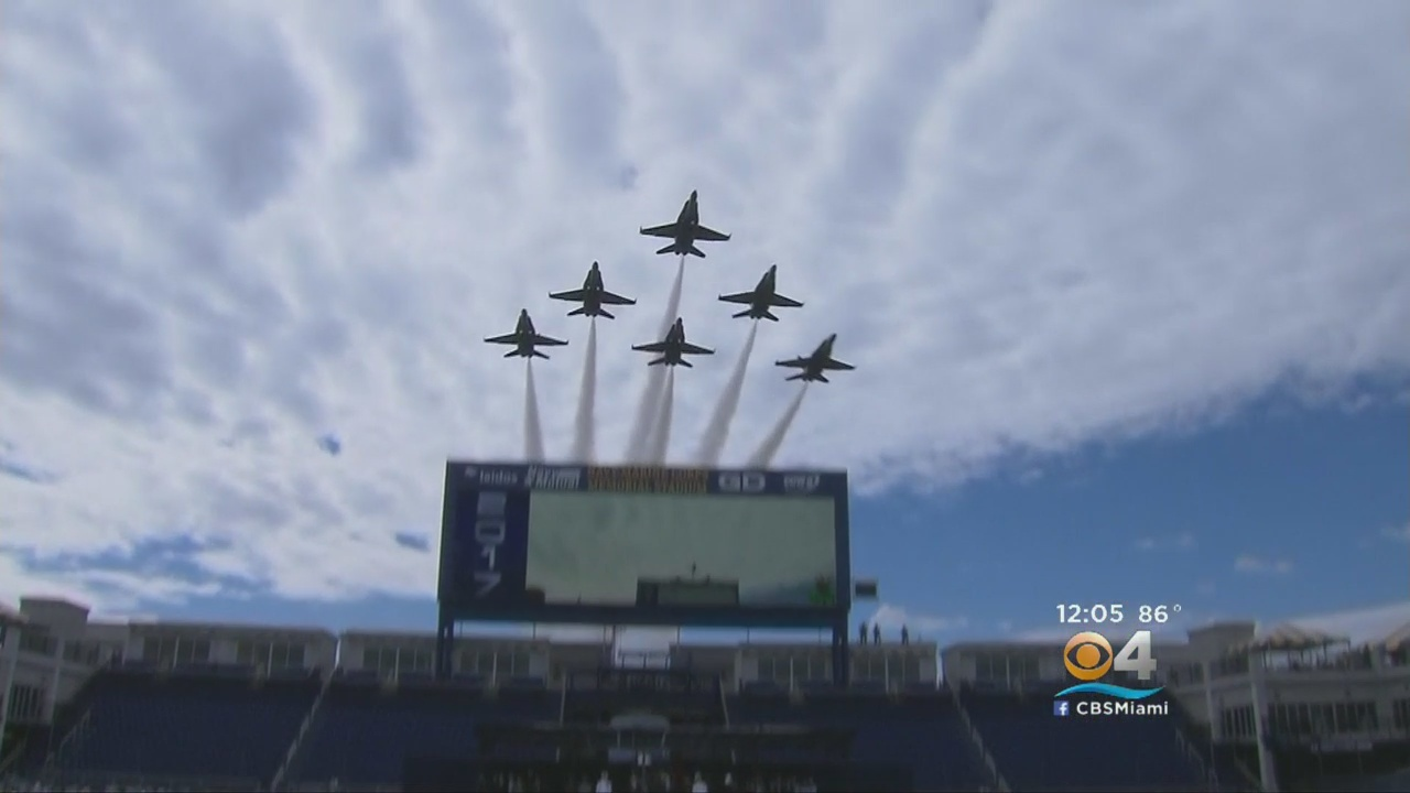 Blue Angles Fly Over Naval Academy Commencement